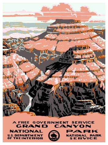 A Free Government Service Grand Canyon National U S Department Of The Interior Vintage Poster