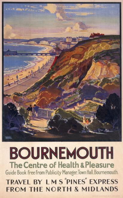 Bournemouth Dorset Vintage Lms Travel Poster By Leonard