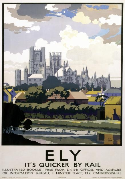 Movie Poster vintage japanese movie posters : Ely Cambridgeshire England It s Quicker by Rail LNER ...