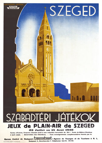french travel poster advertising szeged szabadt ri j t kok jeux de plein air de szeged in. Black Bedroom Furniture Sets. Home Design Ideas