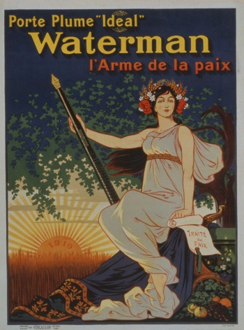 french ww1 poster porte plume ideal waterman l arme de la paix. Black Bedroom Furniture Sets. Home Design Ideas