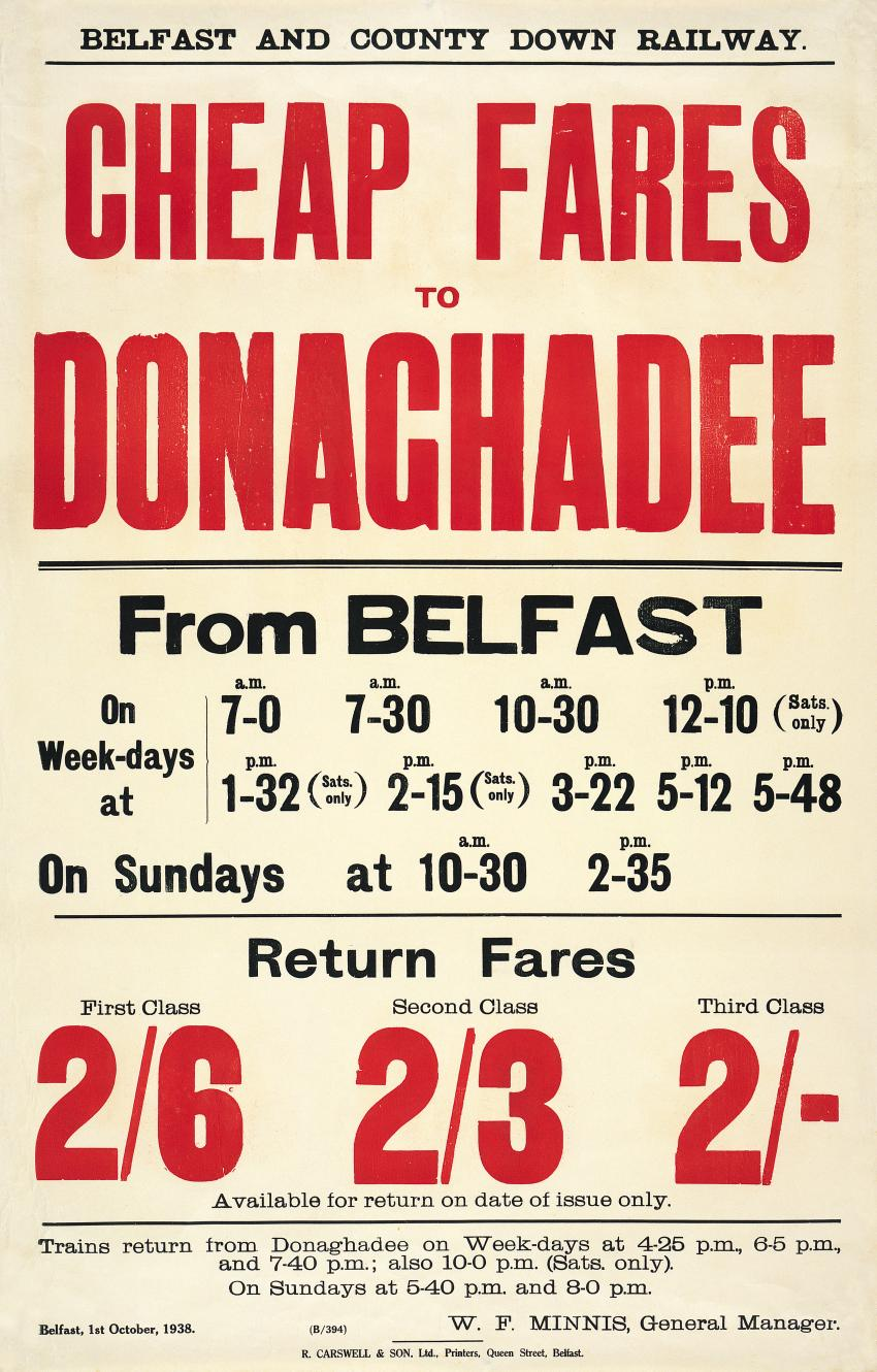 Irish railway timetable poster cheap fares to donaghadee for Cheap prints and posters