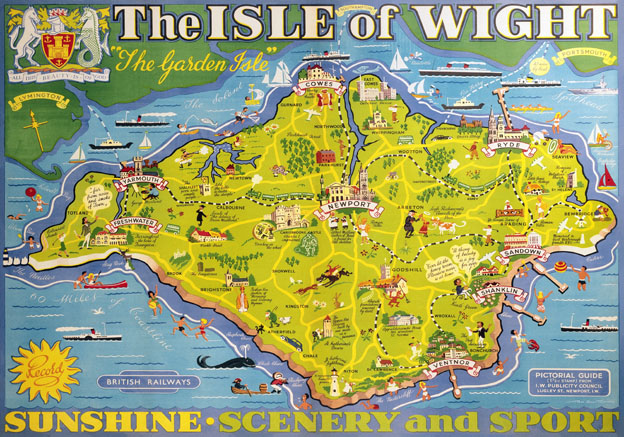Isle Of Wight Pictorial Map Vintage BR Travel Poster By Tom Smith - Map of iow