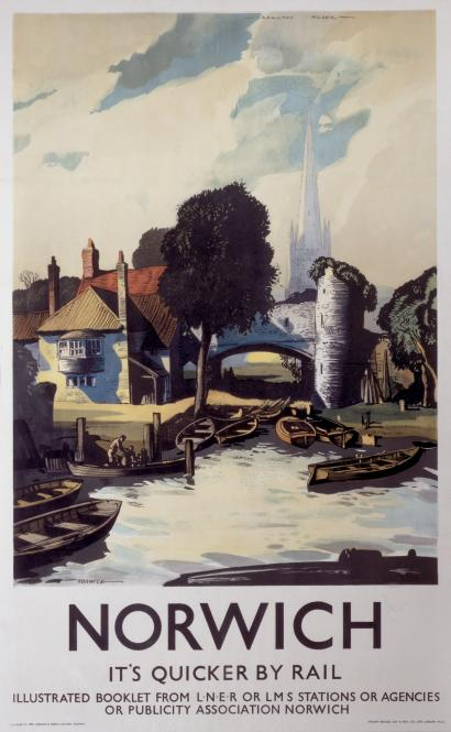 Norwich Norfolk Vintage English Lner Travel Poster By Rowland Hilder P