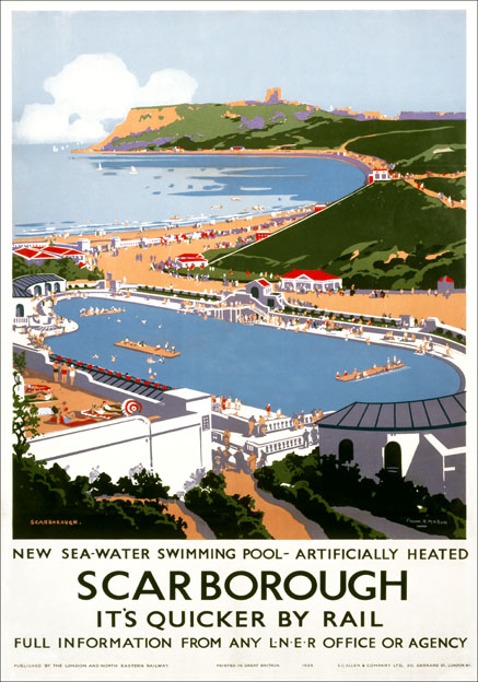 Scarborough Swimming Pool Yorkshire Lner Vintage Travel Poster By Frank H Mason 1939