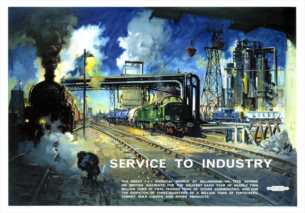 Service to Industry Billingham. BR Vintage Travel Poster by ...