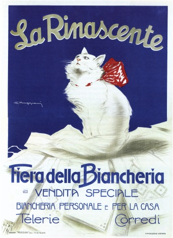 Vintage Fashion La Rinascente White Cat Poster
