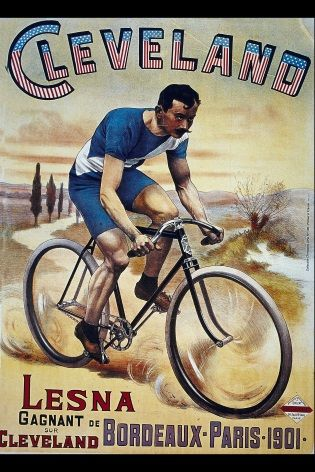 Vintage French Cycling Poster Lesna Wins In Cleveland