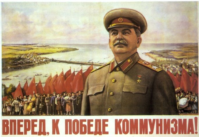 Vintage Russian poster - Forward with the victory of communism