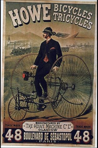 Vintage Scottish Cycling Poster Howe Bicycles Tricycles