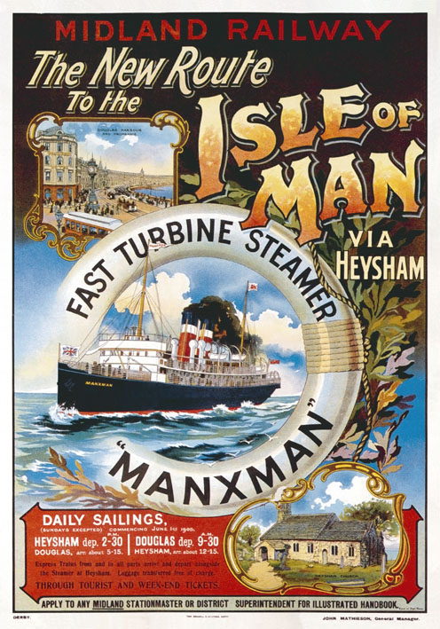 Vintage Travel Poster Heysham To Isle Of Man
