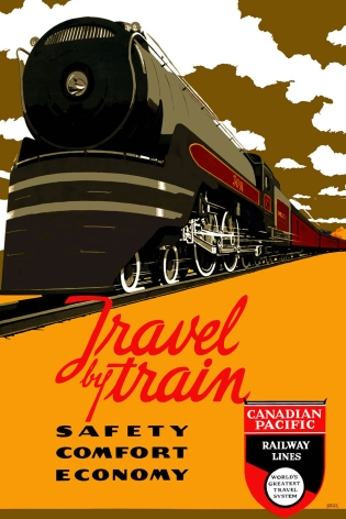 Vintage travel poster travel by train canadian pacific for Vintage train posters