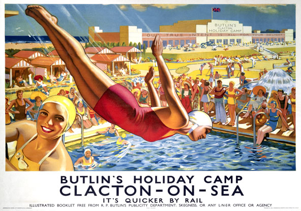 Butlin's, Clacton-on-Sea, Essex. LNER Vintage Travel poster by Joseph Greenup. 1930s