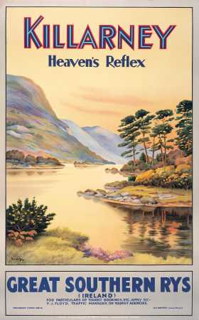 Killarney, Heavens Reflex, Co Kerry, Ireland. GSR Vintage Travel Poster by Walter Till.