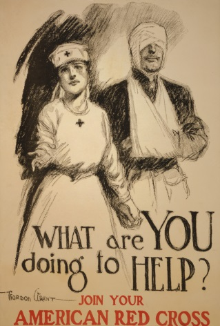 "American WW1 Red Cross Poster ""What are you doing to help?"""