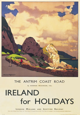 Antrim Coast Road, Northern Ireland. Vintage LMS Travel poster by Norman Wilkinson. 1934