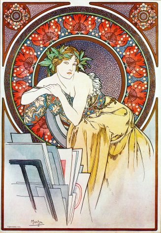 Art Deco Poster Woman with leaves in her hair