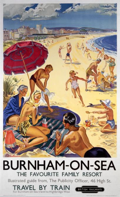 British Railways Vintage Travel Poster Burnham On Sea The Favourite Family Resort By Peter Wall