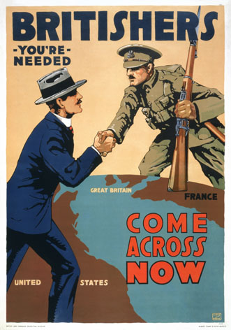 Britishers, you're needed--Come across now / Lloyd Myers.  World War One British Poster