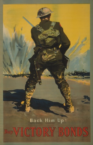 Buy Victory Bonds. Back him up! Vintage American WW1 Poster.