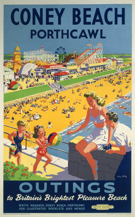 Coney Beach, Porthcawl, Wales.  Vintage Welsh Railway Travel Poster Print by British Railways