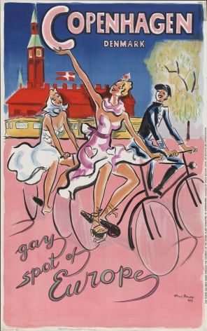 Danish poster - Copenhagen, Denmark Gay spot of Europe [1947]