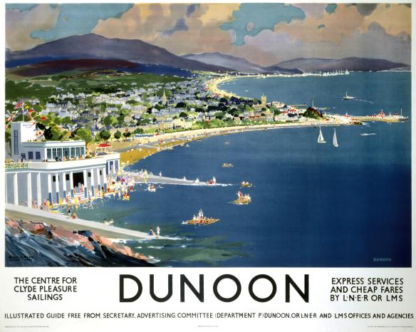 Dunoon, Argyll, Scotland.  Scottish Railway Travel Poster 1960's by LMS and LNER Railways