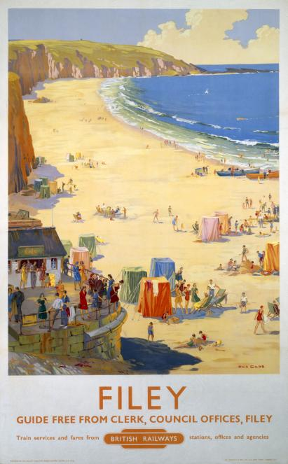 Filey Yorkshire Vintage British Railway Travel Poster By