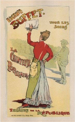 "French poster Advertising ""Eugenie Buffet"", at the Republic Theatre"