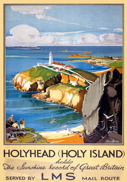 Holyhead, Holy Island, Anglesey, North Wales. LMS Vintage Travel Poster by Claude Buckle