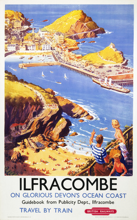 Ilfracombe in Glorious Devon's Ocean Coast. Vintage British Railway Travel poster by Harry Riley