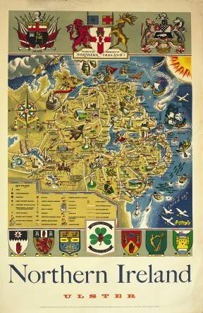Irish Art Travel Poster Map of Northern Ireland, Ulster
