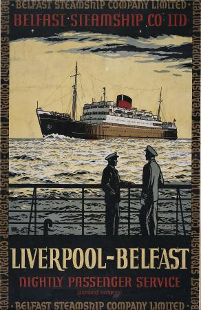 Irish Shipping, Vintage Travel  Poster, Belfast - Liverpool, Belfast Steamship Company Ltd