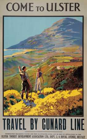 Irish Travel Poster,Come to Ulster,Travel by Cunard Line, Mourne, County Down,  Northern Ireland