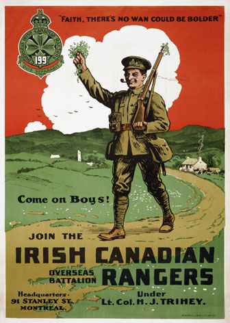Join the Irish Canadian Rangers Overseas Battalion. World war One poster, Canada and Ireland.