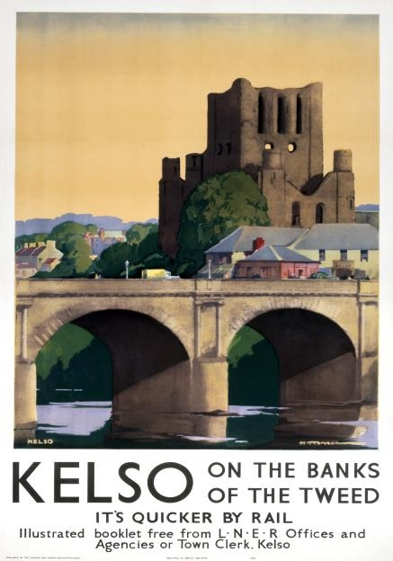 Kelso on the Banks of the Tweed river, LNER Scottish Railway Travel Poster Print
