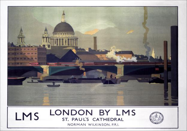 London St Pauls Cathedral, Railway Travel Poster by Norman Wilkinson and LMS