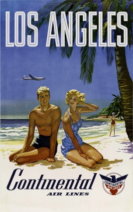 Los Angeles Travel Poster by Continental Air Lines.