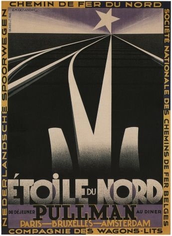 North Star Railway poster (1927) - Paris, Brussels, Amsterdam