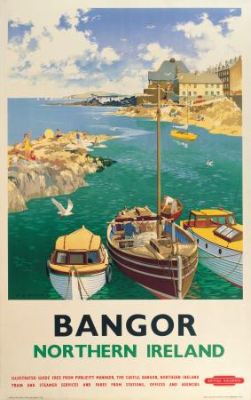 Northern Irish Travel Poster Bangor Pier, County Down, boats, Ireland