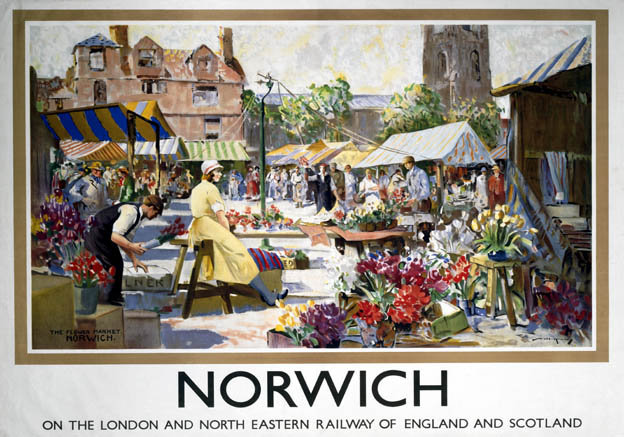 Norwich Flower Market, Norfolk. LNER Vintage Travel Poster by William Lee-Hankey. 1935