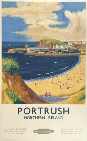 Portrush Beach, County Antrim, Northern Ireland. Vintage BR Irish Travel poster by Lance Cattermole