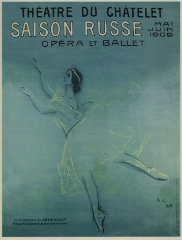 Russian Poster for ballerina Anna Pavlova's tour of France (1909)