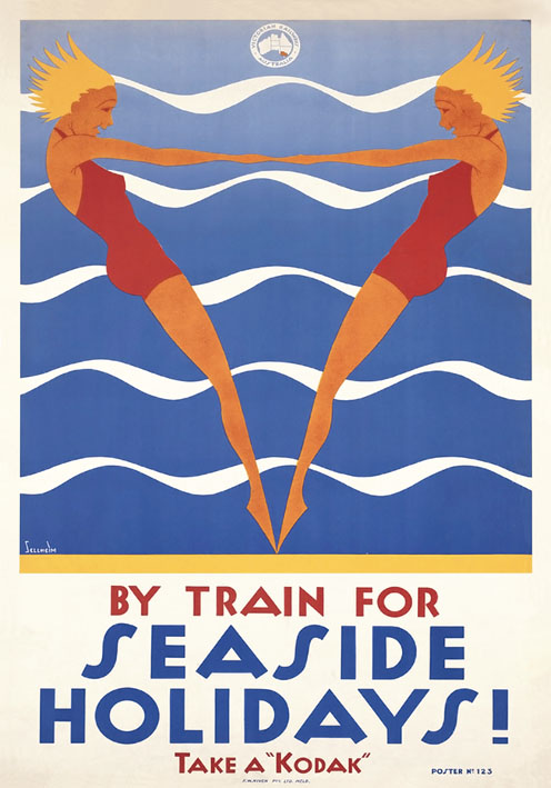 Seaside Holidays By Train Vintage Tourism Poster