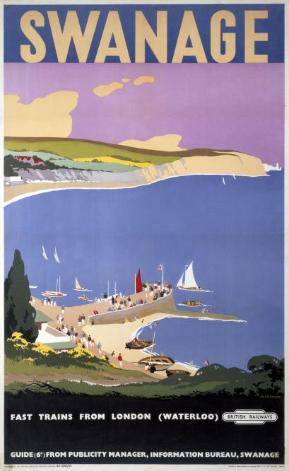 Swanage Dorset Vintage British Railways Travel Poster By