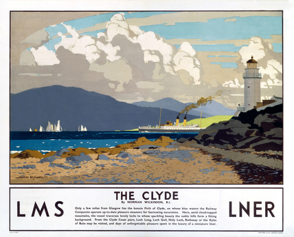 The Clyde, Shipping Travel Railway Poster by Norman Wilkinson, LMS and LNER
