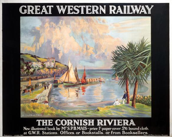 the cornish riviera cornwall  vintage gwr travel poster by