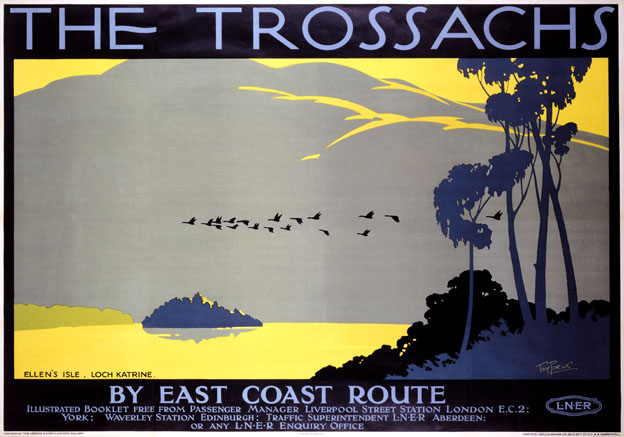 The Trossachs, Ellen's Isle, Loch Katrine. Vintage LNER Travel Poster by Tom Purvis