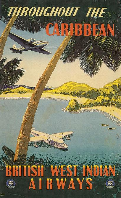 Throughout The Caribbean British West Indian Airways Travel Poster