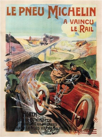 Vintage Car Advertisment Poster Michelin Tyres